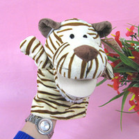 Wholesale tiger finger toy tiger cute hand toy the mouth can move freely plush and cotton toy gifts