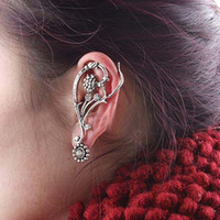 Wholesale Brand NEW HOT SILVER Long Cube Cartilage Earrings Wrap Clip Ear Cuffs with rhinestone Free Shiipping