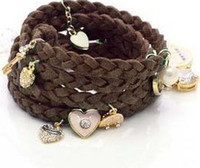 Wholesale New Unique Design Personality Multicolor Knit Shell Heart Rabbit Fashion Bracelet
