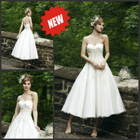 Wholesale Strapless Sweetheart Neckline Applique Organza A Line Tea Length Wedding Dresses