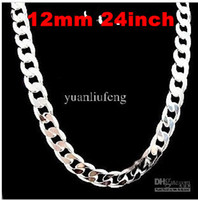 Wholesale Men s Necklace inch mm chain Link curb fashion Silver Jewelry new