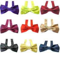 Silk mens neckwear - men s silk bow tie mens tuxedo bowtie solid color Gentleman neckwear wedding bow tie