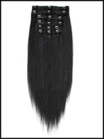 Wholesale Immediate Delivery Malaysian Human Hair Straight Clip In Extension inch Black Remy Hair Cheap Good