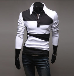 Wholesale 2012 HOT Korea New Mens Casual Slim Stylish Irregular spell color Long Sleeve polo shirt white