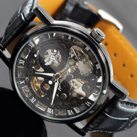 Wholesale 1pcs BLACK Mechanical watch mens classic elegant skeleton watch Automatic wrist watch