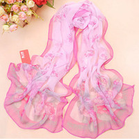 Wholesale Womens Silk Scarf Long Scarf Soft Light Silk Spring scarf shawls mixed color cm