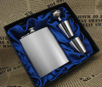 Wholesale wine flask gift set ounce brushed shot glass funnel gift box packing blue silk lined