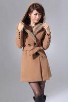 Wholesale Korea women new style double breasted fur collar coat bowknot girdle overcoat camel