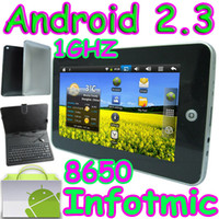 Wholesale 50pcs quot Infotmic X210 Android Tablet PC GHZ GB Wifi camera with leather keyboad case