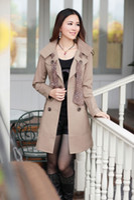 Wholesale Korea women new style double breasted figure flattering slimming coat long sleeve trench coat
