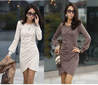 2012 Spring Women's Dresses Elegant V- Neck Long Sleeve Slim ...