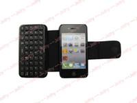 Mini teclado inalámbrico Bluetooth + funda de cuero Flip Funda Negro para iPhone 4 4S 4G cable USB 30pcs