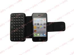 Mini teclado inalámbrico Bluetooth + funda de cuero Flip Funda Negro para iPhone 4 4S 4G cable USB 30pcs desde caso de cuero del teclado del iphone proveedores