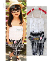 baby girl kids stripe belt romper overall jumpsuits legging ...