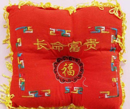 Wholesale Baby red red long life and prosperity lucky character stereotypes pillow fringed pillow baby pillow