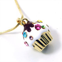 Wholesale fashion white enamel multicolour crystal stones gold cupcake pendant necklaces