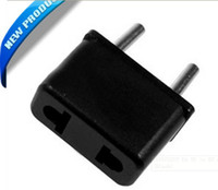Wholesale NEW V V AC A US to EU Adapter AC Power Plug Power Converter Black Socket LOS for led
