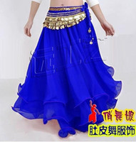 Wholesale New belly dance Costume Three layers skirt biue color