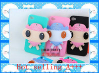 Yes Plastic For Apple iPhone Big face doll cute case cover with rotation 180 grade mirror for iphone 4 4s charger 50pcs