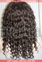 Wholesale 14inch Darkest brown deep wave full lace wig with thin skin human Indian indic remy wigs