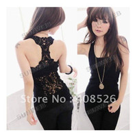 Wholesale Korea Women s Tank Top Shirt Hollow out Vest Waistcoat Camisole Pierced Lace free shopping