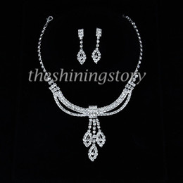 Stylish wedding bridel prom rhinestone necklaces and earrings jewelry sets