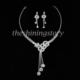 Tassel pretty wedding bridel prom rhinestone necklaces and earrings jewelry sets