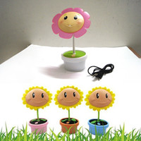 Wholesale 1pcs Sun Flower Lamp USB Rechargeable Energy Saving LED Lights Flowerpot Shape Reading Desk Lamp