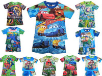 Wholesale Children s suits kid s Cartoon suits boy s Round neck T shirt and shorts lovely style set