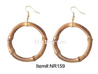 bamboo earrings - hand made round circle ring bamboo root earring