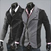 Men Regular Waist_Length Men Cool Slim Sexy Casual Blazer Suit Top Zip Dress Jacket Black Grey M~XXL #3621