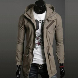 Wholesale New Style Korea fashion men slim fit hoodie coat jacket casual coat black green khaki
