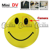 Wholesale hidden cams spy Smile Face Pin Mini Digital Video Recorder Spy Camera MP3 with TV Out sale SS107369