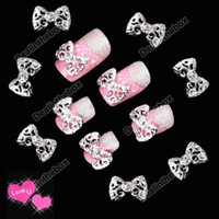 Wholesale 10 x Silver D Alloy Rhinestones Bowtie Bowknot Bow Tie Nail Art Glitter Slices DIY Decorations
