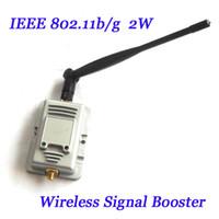 al por mayor señal de rango de potencia del router-Nuevo 2W 802.11b / g Amplificadores inalámbricos de banda ancha inalámbrica Router Power Range Signal Booster con antena