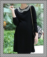 Wholesale fashion soft maternity wear clothes dress pearl collar long sleeve Pregnant women retail