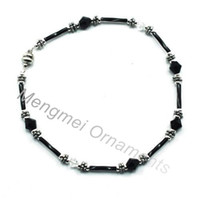 Wholesale 10 quot magnetic anklet with swarovski crystal beads alloy beads copper beads glass tubes