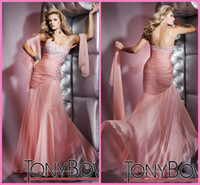 Wholesale 2012 New Strapless Beaded Bust Ruched Poly Chiffon Tony Full Length Evening Prom Dress Dresses R