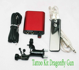 Wholesale Dragonfly Rotary Tattoo Motor Machine Gun Kits amp Hand Size Power Supply Clip Cord Footswitch Pro