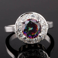 Wholesale Women s Silver Ring Fashion Jewelry Mystic Topaz Clear CZ Surrounded Party Rings Sizes Colors Selectable R022