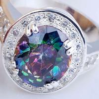 Wholesale Lady Size Silver Ring ct Mystic Topaz Clear CZ Surround Gemstone New JM0550