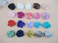 Wholesale Trial order quot Mini Satin Roses Flowers Heads Rosette Flowers For Hair Ribbon Rose