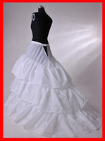 Wholesale Hot Sell White Wedding Petticoats Bridal Crinoline Slips In Stock Three Hoop With Train Petticoats