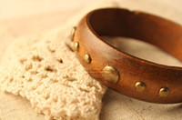 Wholesale New Womens Big Wooden Rivet Bangles Hot Punk Dress Ornament Ladies Raw Log Bracelet Bangle