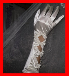 Wholesale Eleant Sexy Bow Hollow Out Five Fingers Long Bridal Gloves One Pair Delivery White Wedding Gloves