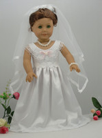 Wholesale white handmade American Girl doll wedding dress princess dress