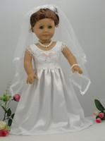 Guangdong China (Mainland) american girl dolls - white handmade American Girl doll wedding dress princess dress