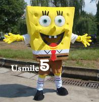 Wholesale Lovely Sponge Bob Squarepants Mascot Cartoon Costume Fancy Dress Adult Size unisex