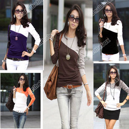 Wholesale New fashion Women Splice color Casual Long Sleeve Round Neck T Shirt Colors