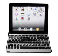 Wholesale For ipad2 iPad3 iPad4 Wireless Keyboard Bluetooth Aluminum Case Ultra thin Gift Cover free Ship PC
